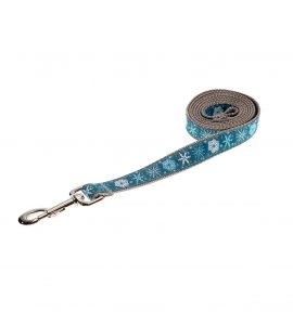 SNOWFLAKES TEAL S-L LEASH